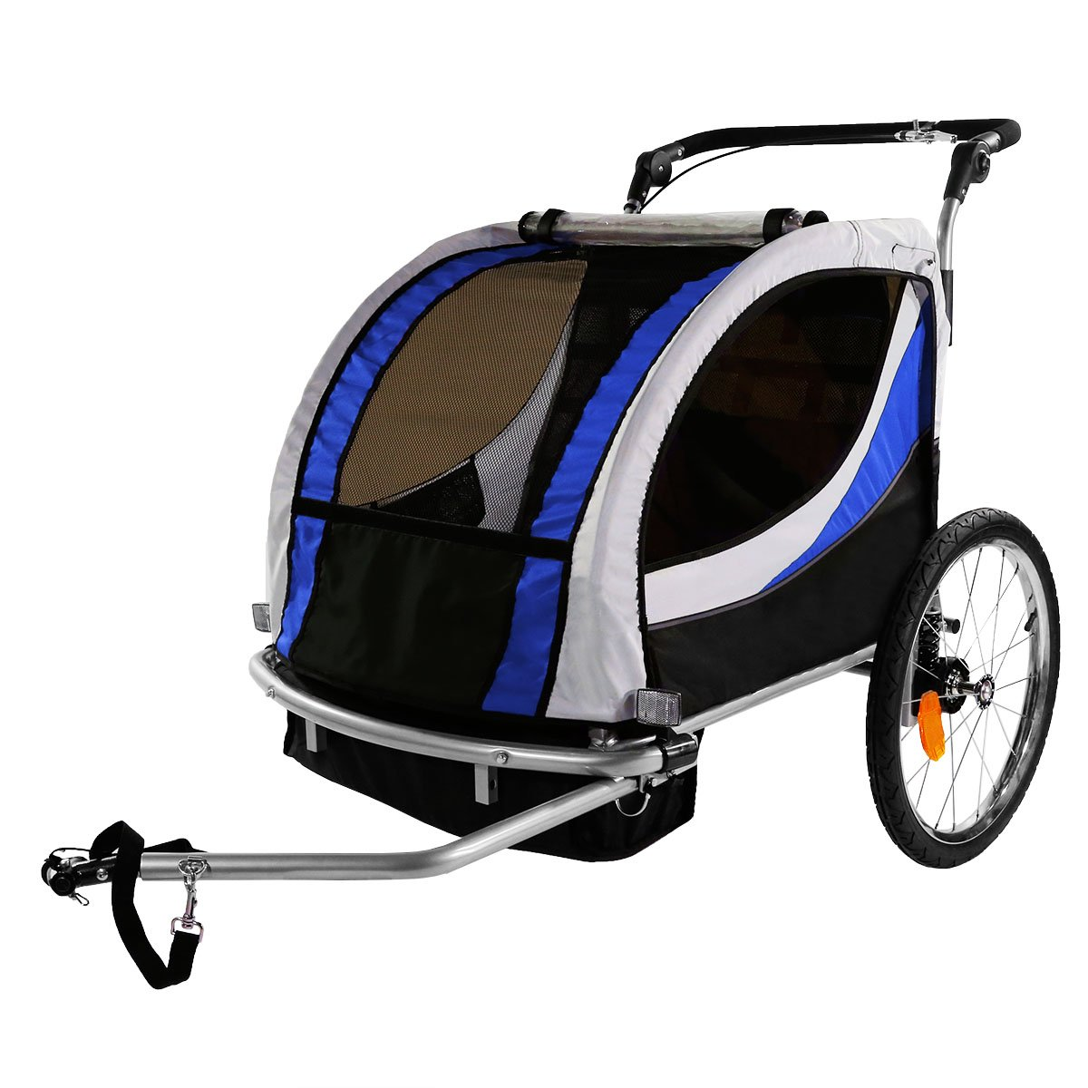 Clevr 3-in-1 Collapsible 2 Seat Double Bicycle Trailer